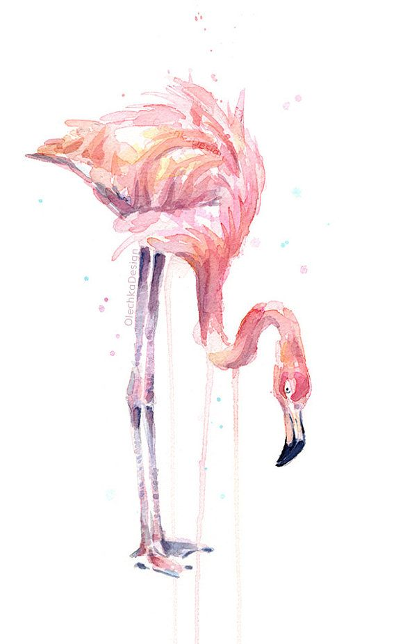 Flamingo Painting in Watercolor - Giclee Art Print A Giclee Print of my original watercolor painting of a beautiful flamingo. - High quality