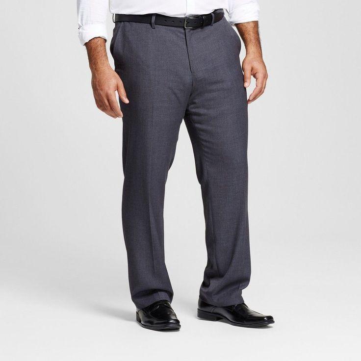 Men's Big & Tall Classic Fit Suit Pants Gray 44x30 - Merona