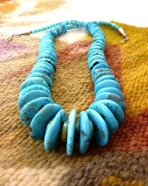 Versatile Old Pawn Vintage Navajo Hand Strung Kingman Turquoise and Heishi Bead Necklace. Beautiful Colors in a Classic Necklace.