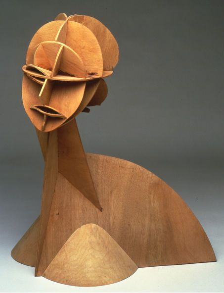 Constructed Head No. 1, 1915, plywood, by Naum Gabo
