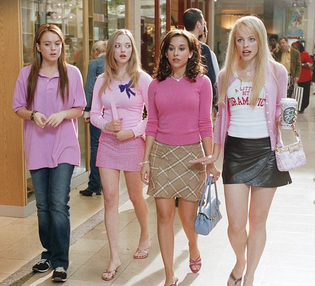 Breakout: The flame-haired beauty was spurred onto success from her breakout role in Mean Girls (pictured with Amanda Seyfried, Tina Fey and Rachel McAdams in the film)