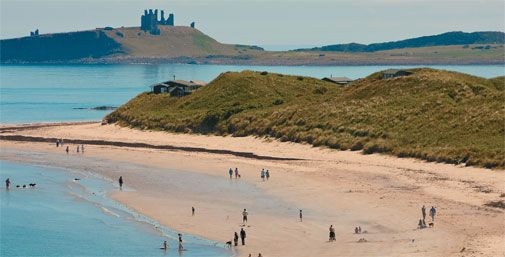 Beach at Low Newton with National Trust huts nestles in the dunes and Dunstanburgh Castle in the background- photo by Tony Hall