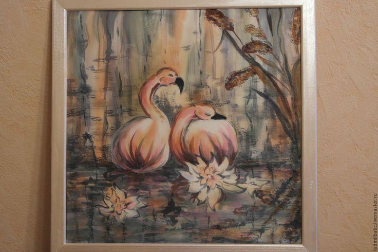 Купить Розовые фламинго - Батик, розовый, картина, картина в подарок, картина для интерьера, пейзаж, фламинго