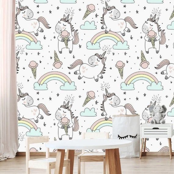 Unicorn Clouds Wallpaper Mural Removable Baby Girls Room Peel And Stick Unicorn Wall Paper Playroom Baby Girl Room Cloud Wallpaper Temporary Wallpaper