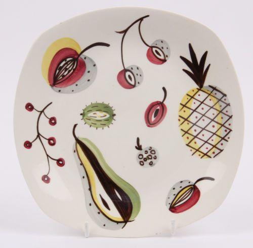 RARE Midwinter Mid Century Modern Stylecraft Jessie Tait Fruit Pattern Plate   eBay