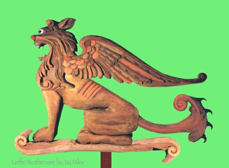 """Griffin Weathervane carved of pine and oak - bronze tail piece - 40""""L by Jay Miles www.facebook.com/kickingbullgallery?ref=hl Sold"""