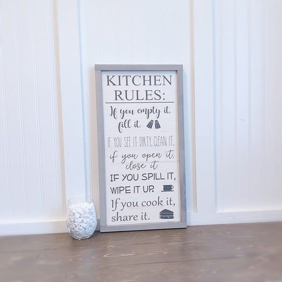 Kitchen Wall Decor Kitchen Rules Sign Family Kitchen Sign Etsy Kitchen Rules Sign Kitchen Rules Farmhouse Kitchen Signs