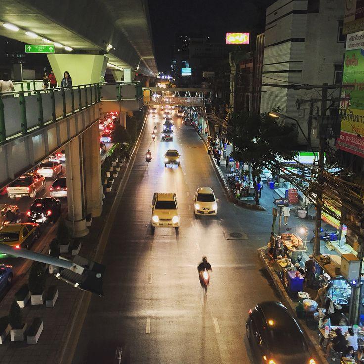 Bangkok street view from Bangchak BTS Skytrain Station, Bangkok