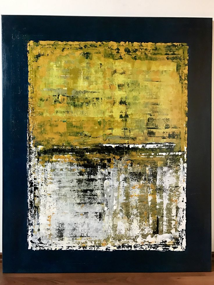 Handmade original contemporary abstract acrylic art on canvas. Painting is dominated by yellow, grey, white, blue colours applied in multi layers. Gloss varnished. 110 H x 90 W x 2 cm Ready to hang. Industrial design, modern style.