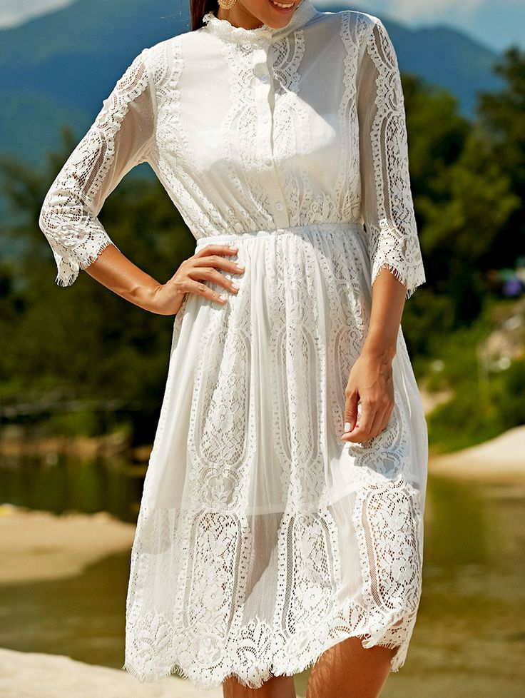 Solid Color Stand Neck Drawstring Lace Dress - WHITE S