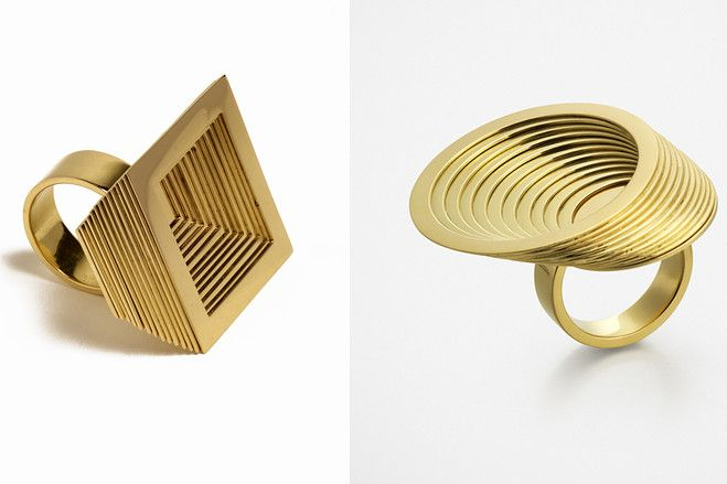 Anish Kapoor Atlas Rings ('square' and 'round'), 2012, each in 18-karat gold and made in editions of 25.