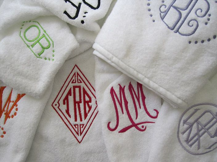 Julia B. Custom Monogrammed Towels: Embroidery Ideas, Towels Bathroom, Years Anniversaries, White Towels, Bright Color, Custom Monograms, 2Nd Anniversaries, Monograms Towelsl, Christmas Gifts