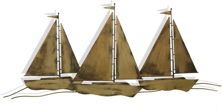 Trio Of Sail Boats Metal Wall Sculpture Seascape Wall Art Metal