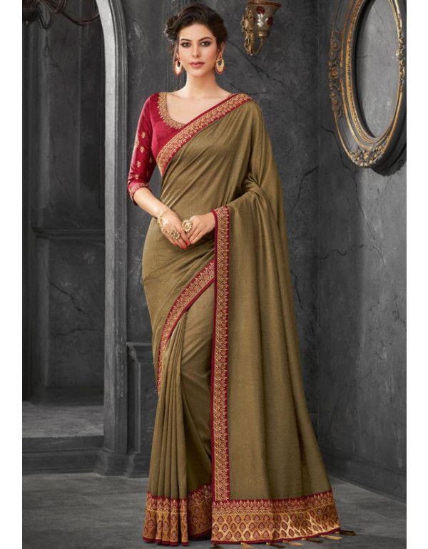 a09ffd27e4 Mehendi Silk Designer Saree. Mehendi Silk Designer Saree Blouse Dress ...