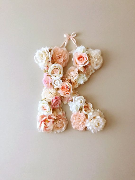 Flower Letters, 18'' Floral Letters, Vintage wedding decor / Personalized nursery wall decor, Baby shower, Photography Prop, Wall art
