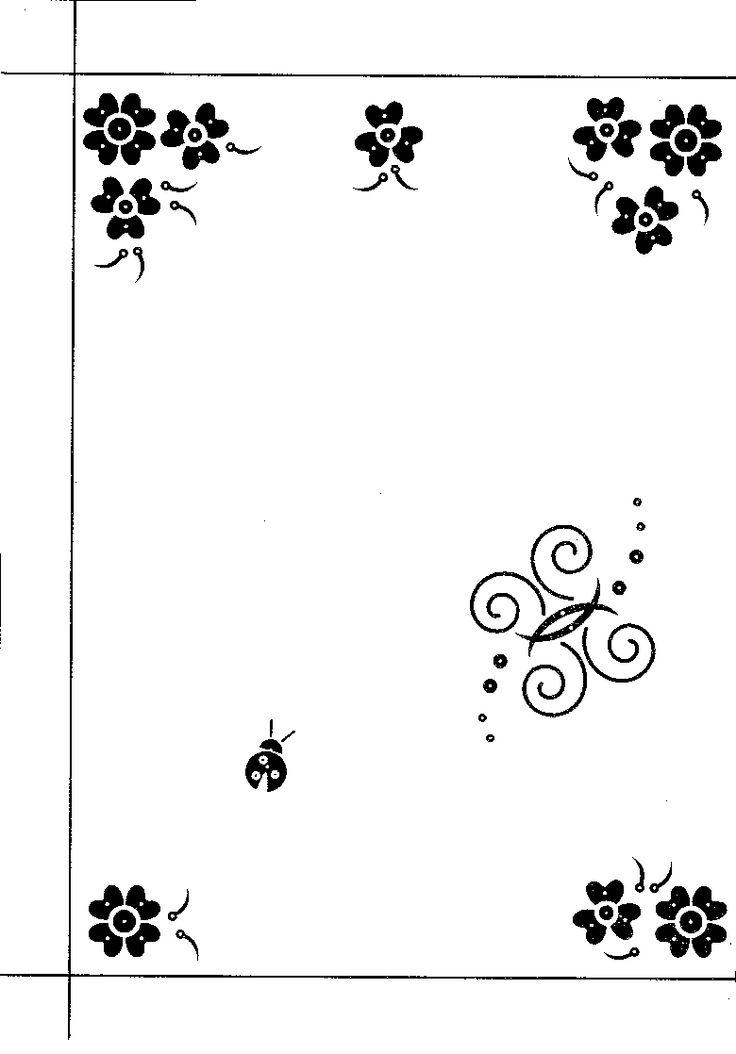 hobbydots patroon met bloemen, vlinder en lieveheerstbeestje