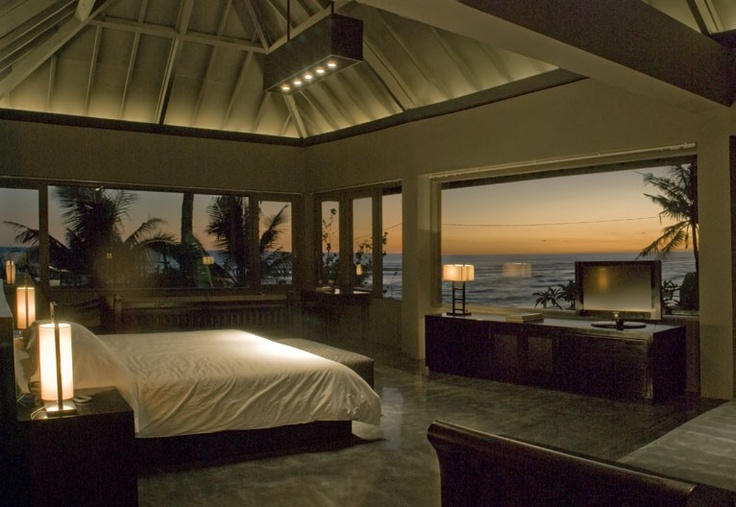 Bali sunset oceanview from bedroom..bet it's really bright and airy in the daylight.