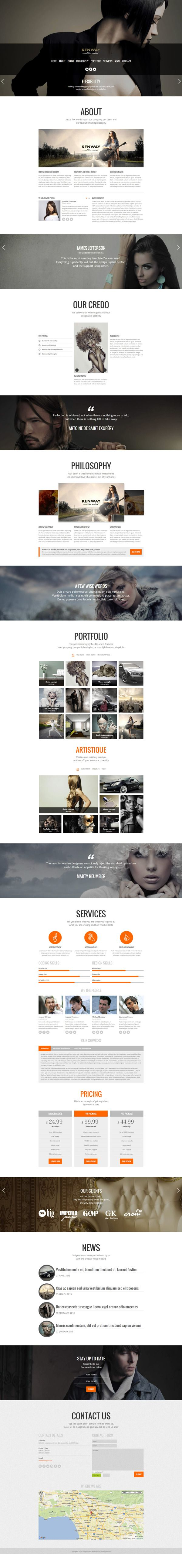Kenway - Responsive Parallax HTML5 Template by Zizaza - design ocean, via Behance, find more on the Responsive Design Knowledge Hub: http://www.ugurus.com/responsive-design-examples