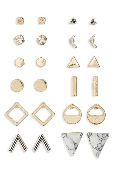 Free shipping and returns on BP. Geometric Stud Earrings (Set of 12) at Nordstrom.com. A set of twelve pairs of delicate stud earrings can be easily interchanged to create a modern, mismatched look.