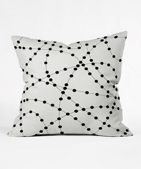 Black & White Dotted Lines Throw Pillow