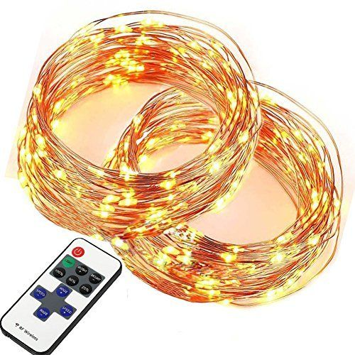 EAGWELL 100 LEDs Super Bright Warm White LEDs String Lights with Remote on 33 Ft Long String Lights for Bedroom Xmas Decoration Light  2 PACK *** Be sure to check out this awesome product.