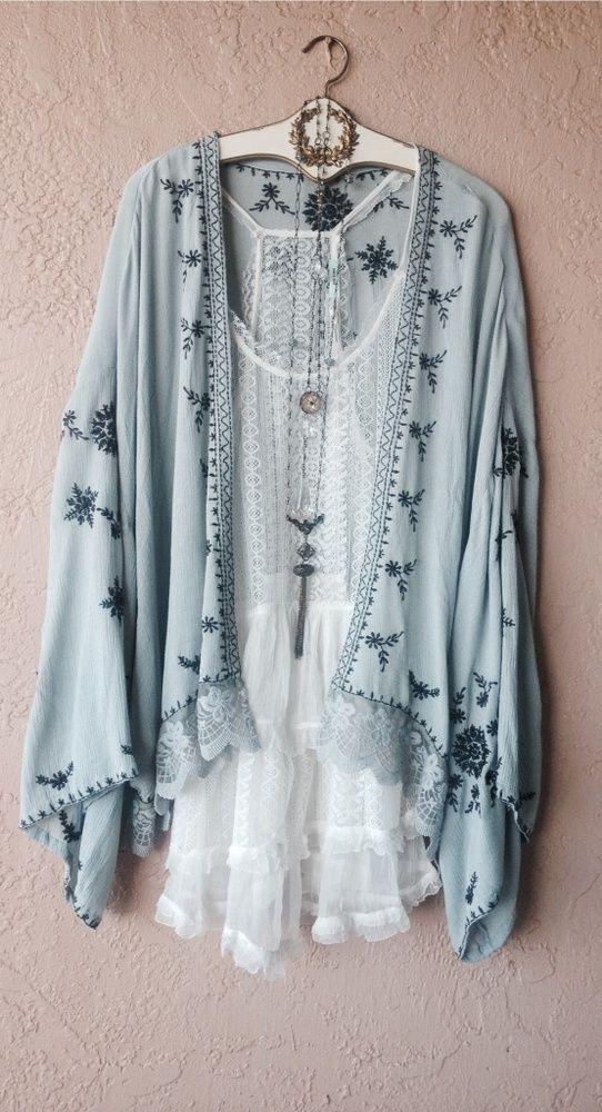 Free People Ice blue embroidery gypsy kimono