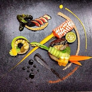 Raw Surf & Turf with 1855 black angus tartar, all green chimichurri, sustainable King salmon belly burdock slaw, pickled okra, marinated shishito peppers, pickled chinese artichokes, nantase carrot, asparagus, sudachi, cucumber, avocado, figs, Buddha's hand smoked salt, 2 types of caviar, shichimi, and arima sansho purée