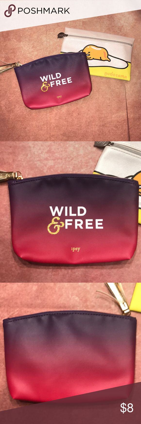 IPSY~Small Cosmetic Bags~ Lot of 2 Wild and Free and Gudetama by Sanrio. ipsy Bags Cosmetic Bags & Cases