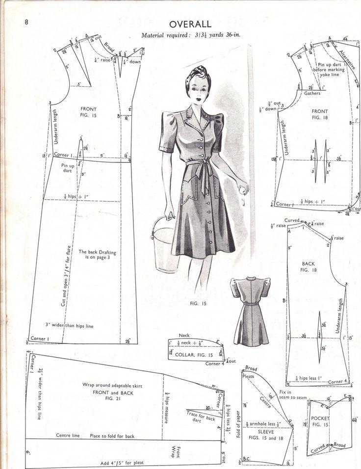 Patron d'une robe de tous les jours (citadine) durant la 2nde guerre mondiale
