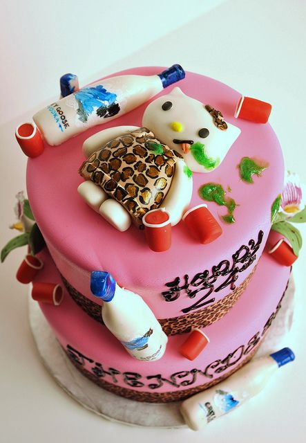 DrunK Hello Kitty Cake