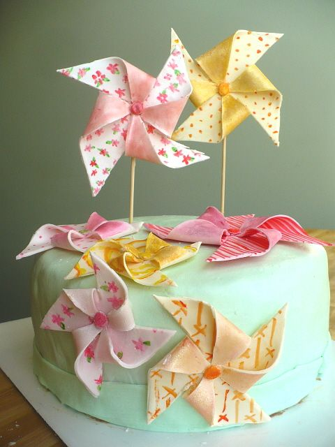 Pinwheel Cake - adorable idea for a spring/summer baby shower or a young girl's birthday!!!