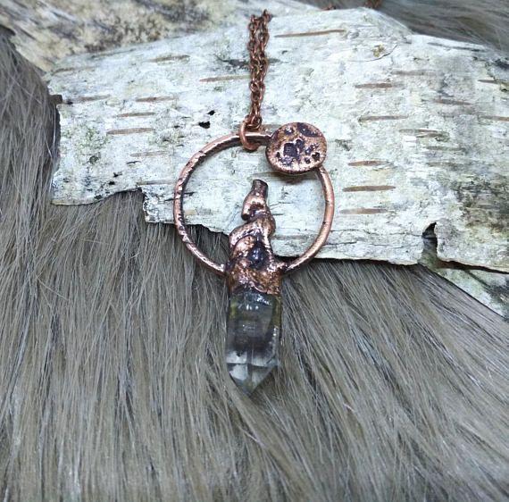 Howling wolf necklace smoky quartz necklace raw crystal
