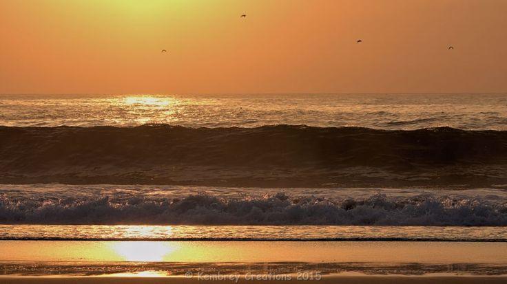 Wave back lit by the sunrise