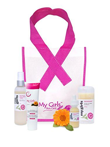 My Girls Skin Care Breast Cancer Awareness Gift Set Special $136 Value - SPECIAL National Breast Cancer Awareness Month SALE! Gift of Comfort Calendula Skin Care Set. My GirlsTM Skin Care gift set includes our popular 5 Oz tube, NEW! Moisturizing Calednula Face Serum, Aluminum-free & Anti-perspirant-free Calednula Deodorant along with our NEW! Cooling Calendula & Rose Spray packaged in a Pink and White My Girls gift bag Absorbs quickly, non-greasy, non-staining - apply after