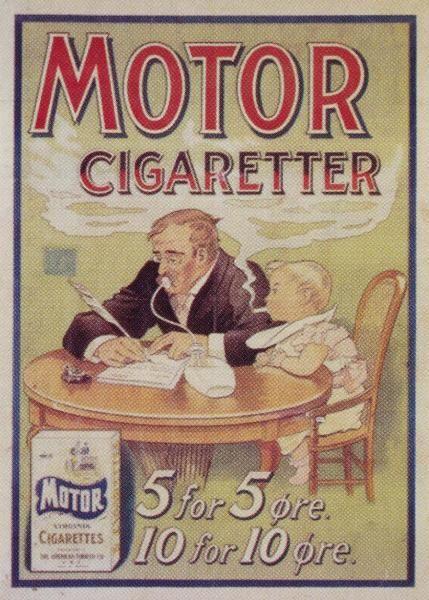 """Selvom man begynder at importere uden-lands fremstillede cigaretter allerede fra 1860'erne, er det først efter 1. verdenskrig, at cigaretter begyn-der at få sit gen-nembrud her-hjemme. Men mange synes dog stadig, at det ikke er fint at ryge cigaretter, som det billige mærke med virginiatobak """"Motor""""."""