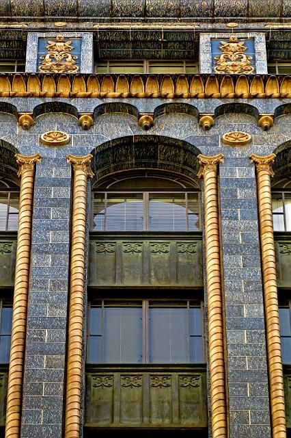 detail, The Majorca Building.  A neo-Romanesque, eight-storey tall building in Melbourne, Australia, designed and constructed between 1928-30. Located at 258-260 Flinders Lane.