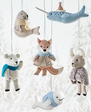 Martha Stewart Living™ Arctic Animal Felt Ornaments - Set of 6 - Ornaments - Christmas Tree Ornaments - Holiday Decor | HomeDecorators.com