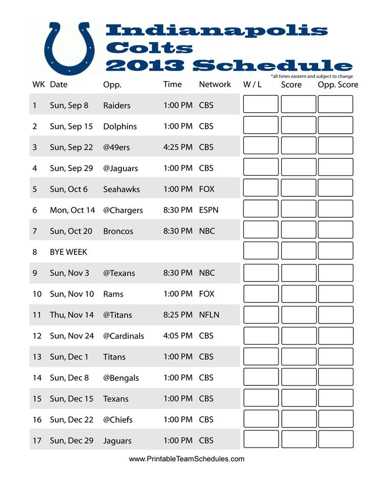Indianapolis Colts Schedule 2013