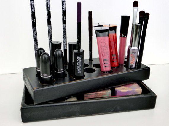 Black antique Makeup organizer storage Makeup by CraftersCalendar, $55.00