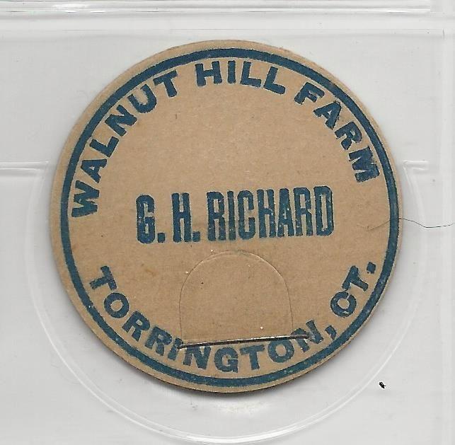 G H Richard Walnut Hill Farm Milk Cap TORRINGTON Connecticut | eBay.  Gad Henry Richard.