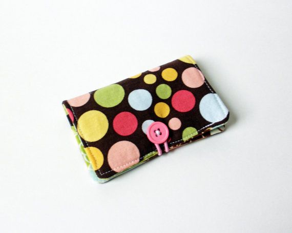 Brown, Pink, Green Polka Dot Fabric Business Card Holder, with Lime Green Blossoms – Credit Card Hol