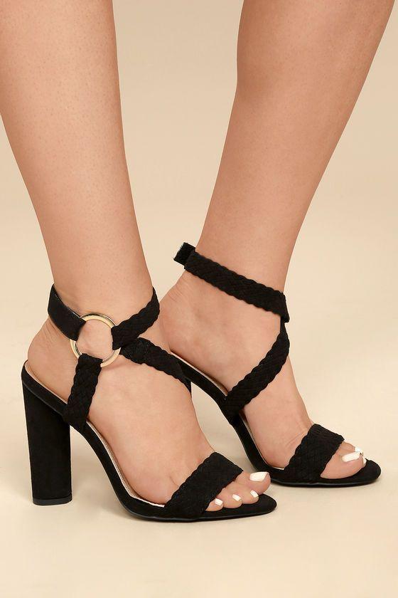46ebd9052f3 Stylish Black Heels - Vegan Suede Heels - Ankle Strap Heels - Braided Heels  Lulus