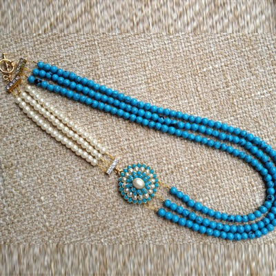 Beautiful Turquoise blue pachi neckpiece. A classic statement piece with a Indian twist.
