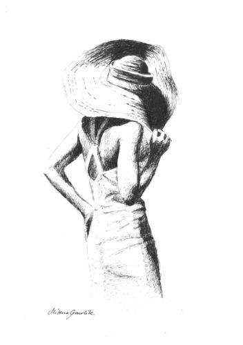 ORIGINAL-INK-DRAWING-WOMEN-LOVE-SUMMER-B-W-FEMALE-M-GAWLIK-ART-SKETCH