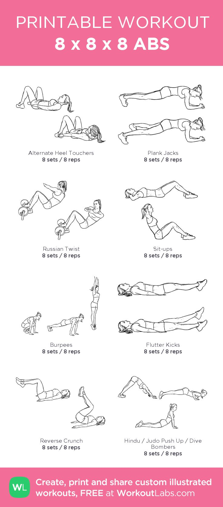 8 x 8 x 8 ABS: my custom printable workout by @WorkoutLabs ...
