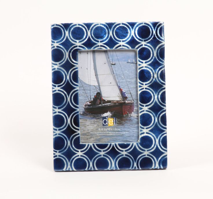 "Latitude 38 4"" x 6"" Nautical Circle Capiz Picture Frame"