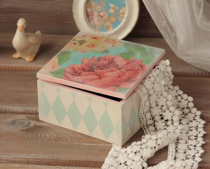 Jewelry Box Wood Storage Box Shabby chic Wood Box Trinket Box Keepsake Wood Box Treasury Box Wood Box with Cover Shaby Roses Container by NostalgieDecor on Etsy
