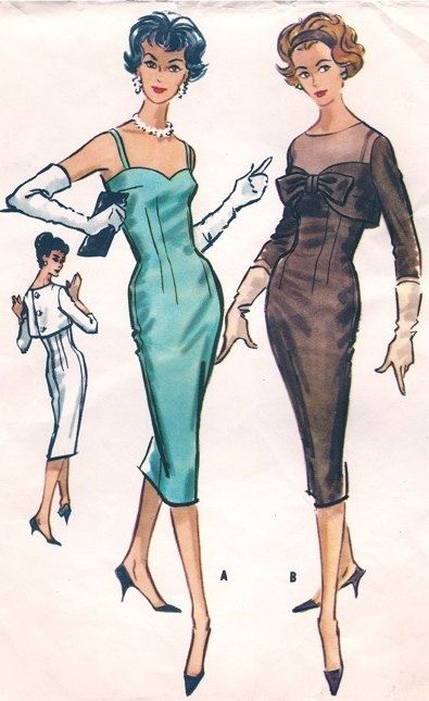 McCall 4666 1950s 50s Wiggle Party Dress