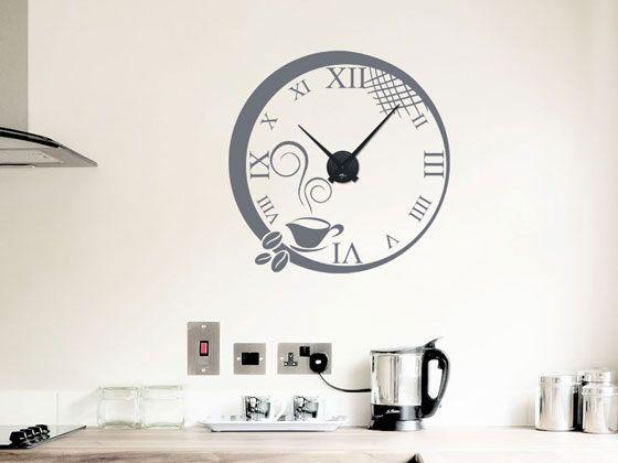 #Wandtattoo Uhr mit #Uhrwerk Wanduhr #Küche #Kaffee Tasse Kaffeebohnen Römisch