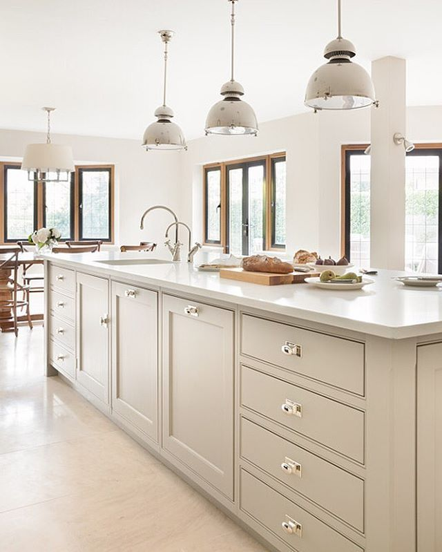 Nickleby kitchen, Gerrards Cross  A sneak peek for you all - here is the lovely main island in the Gerrards Cross project. This is a Nickleby kitchen with Spenlow hardware finished in polished nickel. We love the colour palette which suits the large open plan kitchen / dining perfectly and really helps to bring the outdoors into this stunning space. Have an amazing day all!